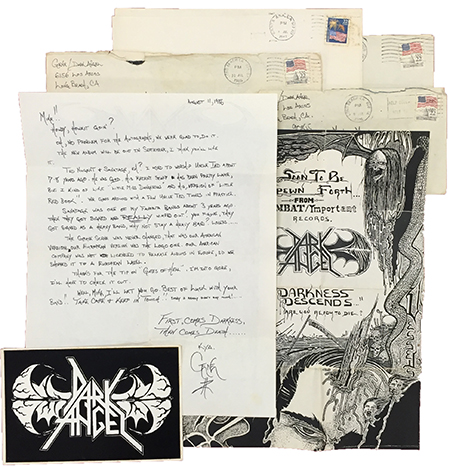 A SMALL COLLECTION OF CORRESPONDENCE ADDRESSED TO A SOMERSET, PENNSYLVANIA FAN OF THE LOS ANGELES THRASH METAL BAND DARK ANGEL. Dark Angel.