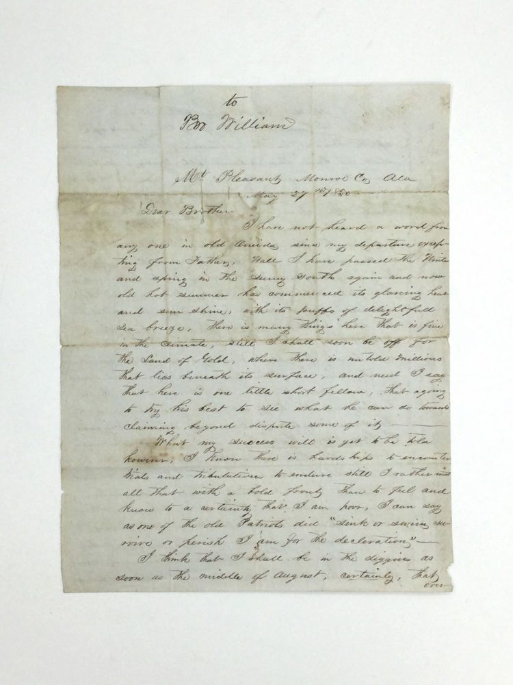 HOLOGRAPHIC LETTER BY A MAN HEADING TO THE CALIFORNIA GOLD FIELDS, CRITICIZES ABOLITIONISTS