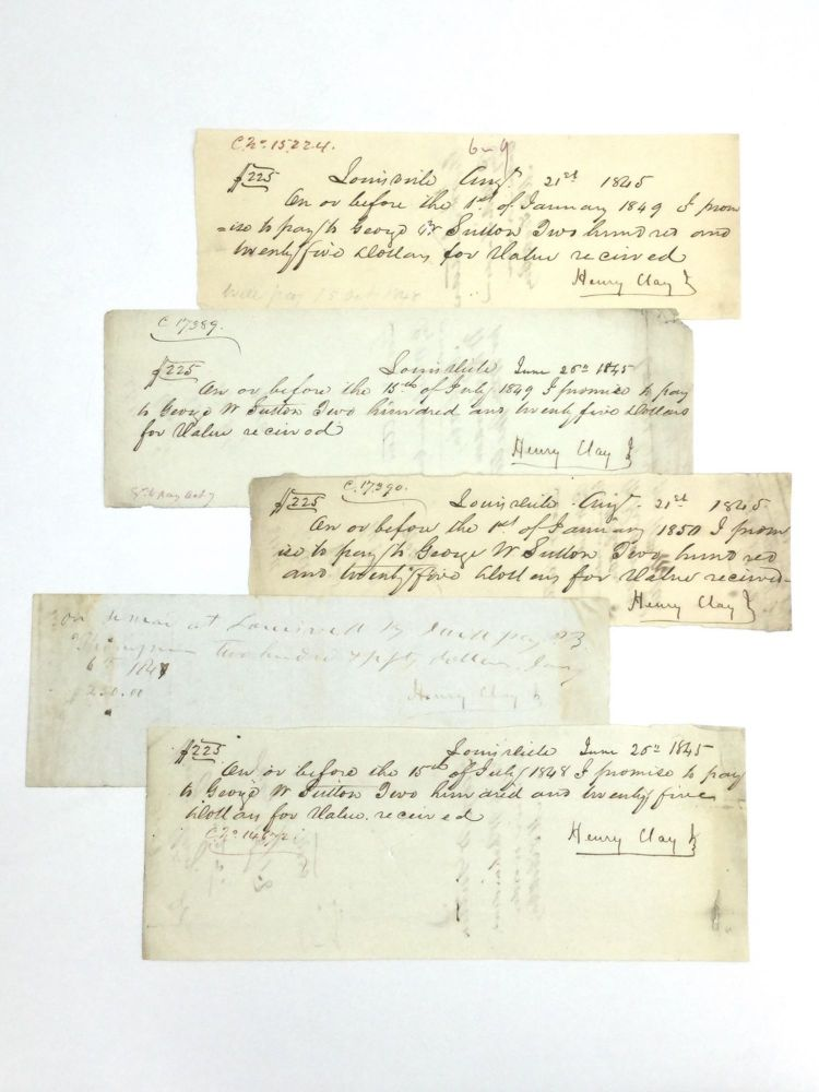 HENRY CLAY JR. PROMISSORY NOTES. Americana – Kentucky.
