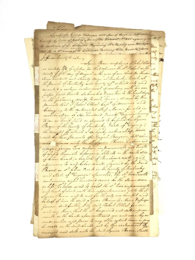 DOCUMENTS ASSOCIATED WITH THE FAMILY OF FRONTIERSMAN DANIEL BOONE. Americana – Daniel Boone.