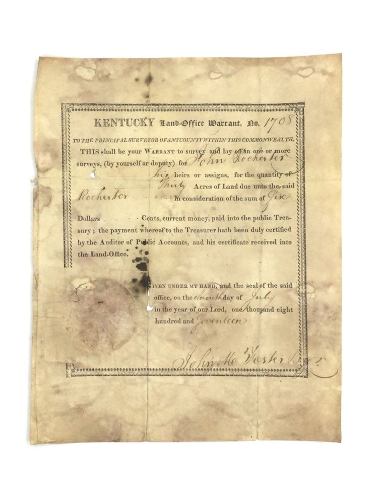 KENTUCKY LAND WARRANT (1807). Americana – Kentucky.