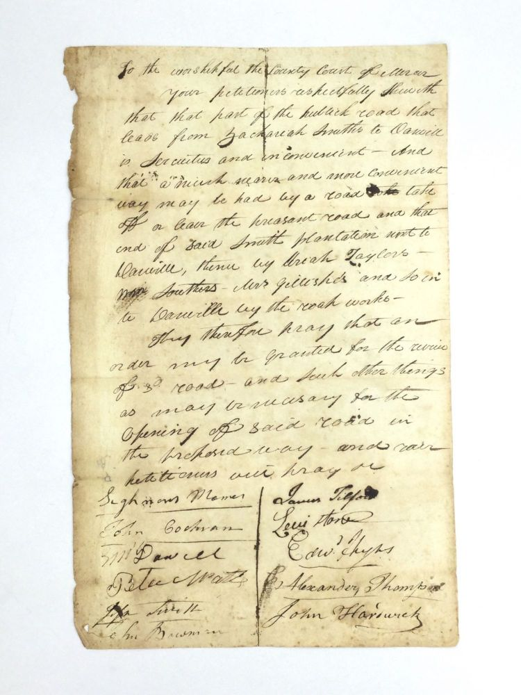 PETITION CONCERNING PLACEMENT OF A KENTUCKY ROAD. Americana – Kentucky.