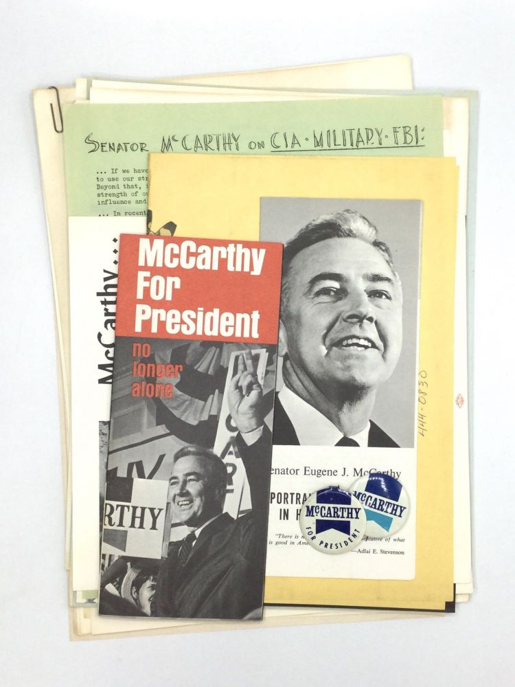GRASSROOTS MCCARTHY FOR PRESIDENT MATERIALS. Eugene McCarthy.
