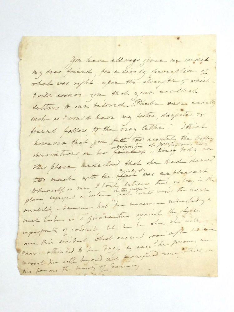 HOLOGRAPHIC LETTER FROM FIRST LADY DOLLEY MADISON. Dolley Madison.