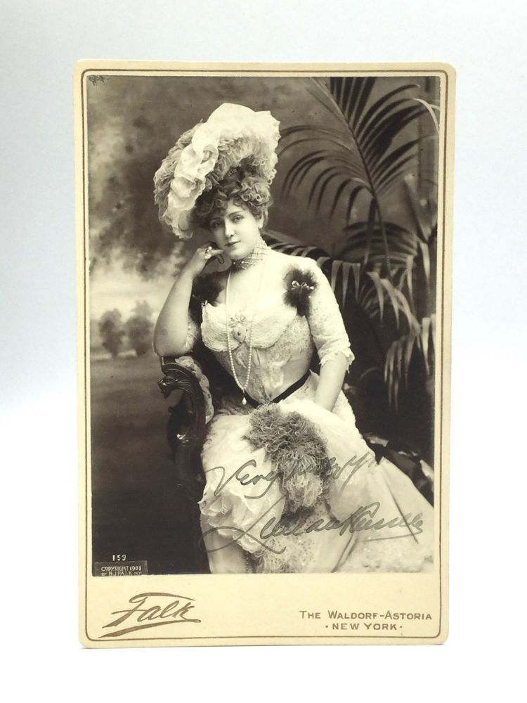 AUTOGRAPHED CABINET CARD PHOTOGRAPH. Lillian Russell.