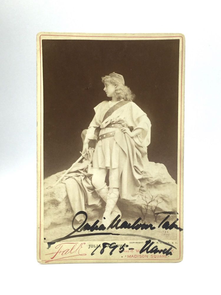 AUTOGRAPHED CABINET CARD PHOTOGRAPH. Julia Marlowe.