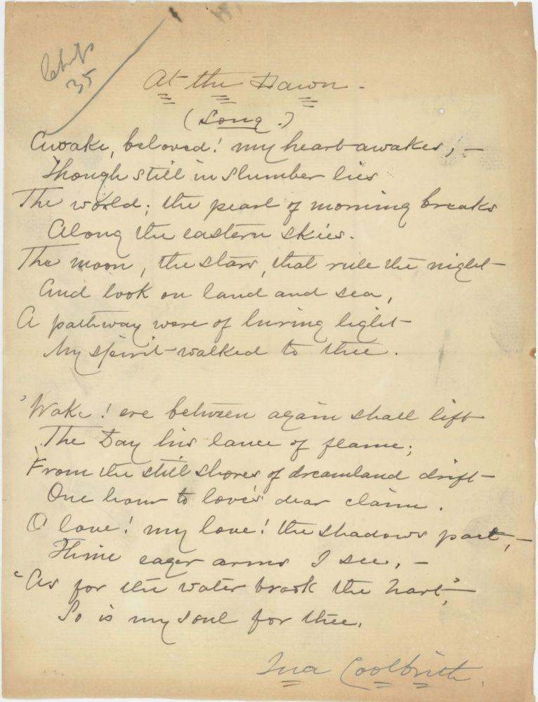 AUTOGRAPH MANUSCRIPT SIGNED BY THE FIRST CALIFORNIA POET LAUREATE. Ina Coolbrith.