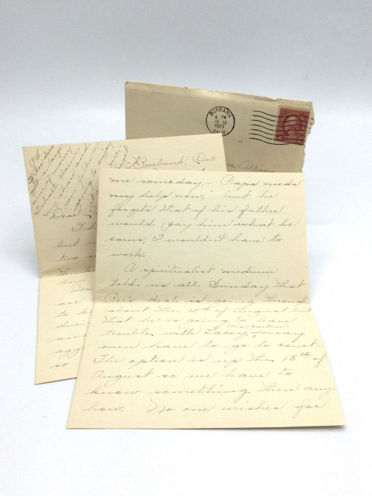 """LETTERS OF A CALIFORNIA WOMAN TO HER BROTHER CONCERNING FAMILY HEALTH ISSUES. Margaret """"Nellie"""" Crosson, née Allison."""