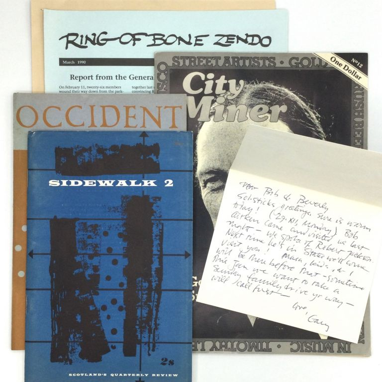AUTOGRAPH LETTER SIGNED AND RELATED MATERIAL. Gary Snyder.