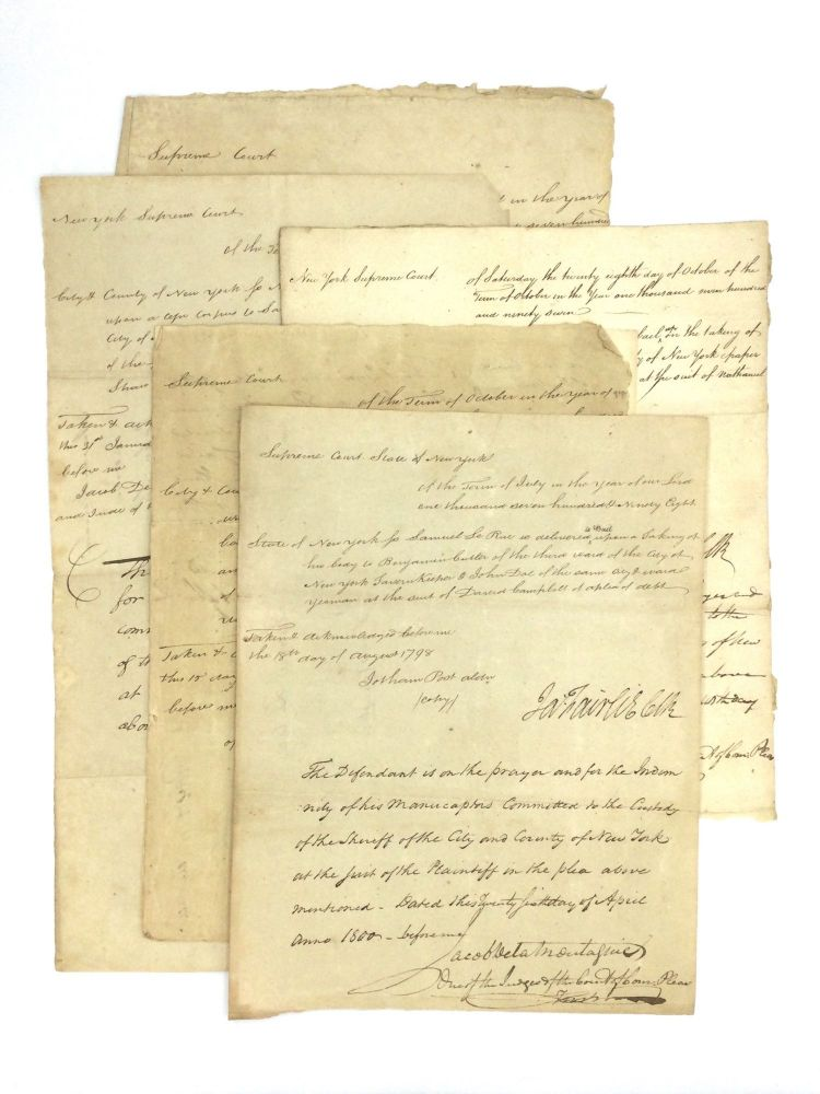 NEW YORK BAIL NOTICES, 1798-1803. Law - New York.