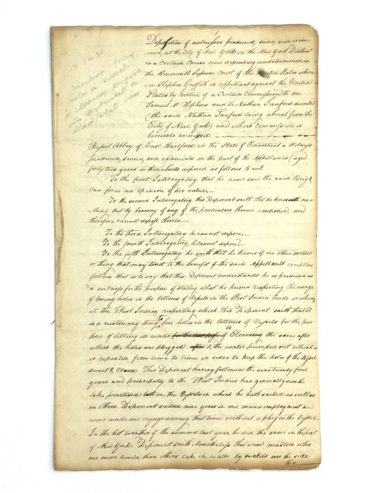 EARLY 19TH CENTURY DEPOSITIONS OF FREE BLACK MEN IN NEW YORK. African Americana - New York.