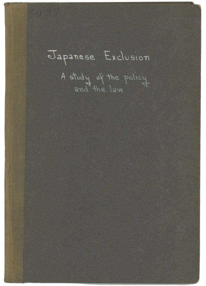 JAPANESE EXCLUSION: A Study of the Policy and the Law. John B. Trevor.