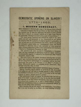 DEMOCRATIC OPINIONS ON SLAVERY! 1776-1863