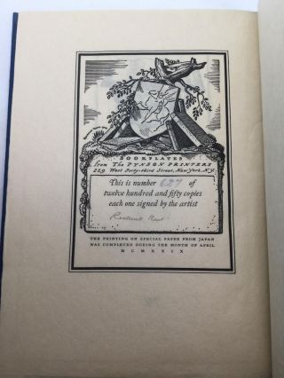 THE BOOKPLATES & MARKS OF ROCKWELL KENT, With a Preface by the Artist