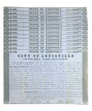 TWELVE SHARES OF STOCK ISSUED BY THE CITY OF LOUISVILLE FOR RAILROAD CONSTRUCTION. Americana...