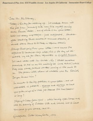 AUTOGRAPH LETTER SIGNED BY THE POP ART PIONEER. Corita or Sister Mary Corita Kent, born Frances...