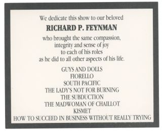 RICHARD FEYNMAN THEATRICAL COLLECTION: The Theoretical Physicist as Thespian. Richard Feynman