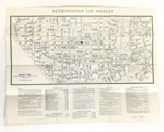 MAP OF METROPOLITAN LOS ANGELES, Including Tourist Guide to Downtown Theatre and Shopping District